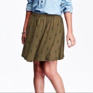 Olive green with black tribal diamond print skirt